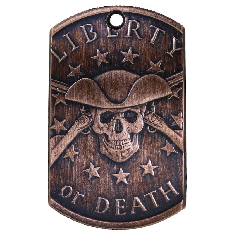 Liberty Or Death Copper Dog Tag Necklace