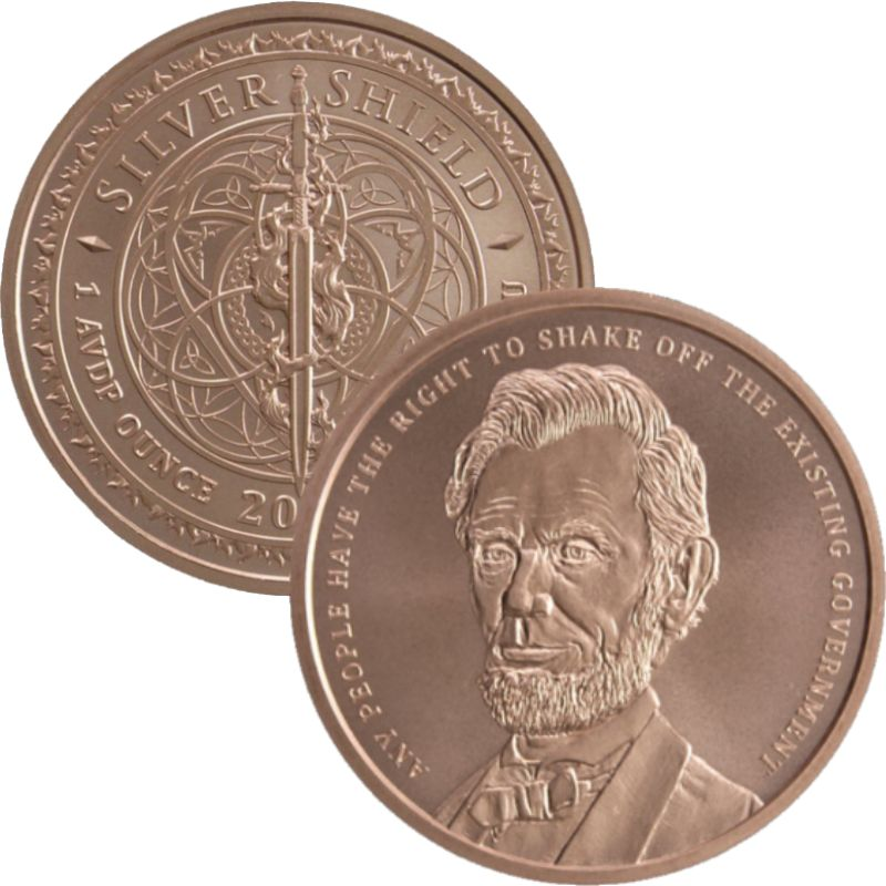 Lincoln #127 (2019 Silver Shield - Mini Mintage) 1 oz .999 Pure Copper Round