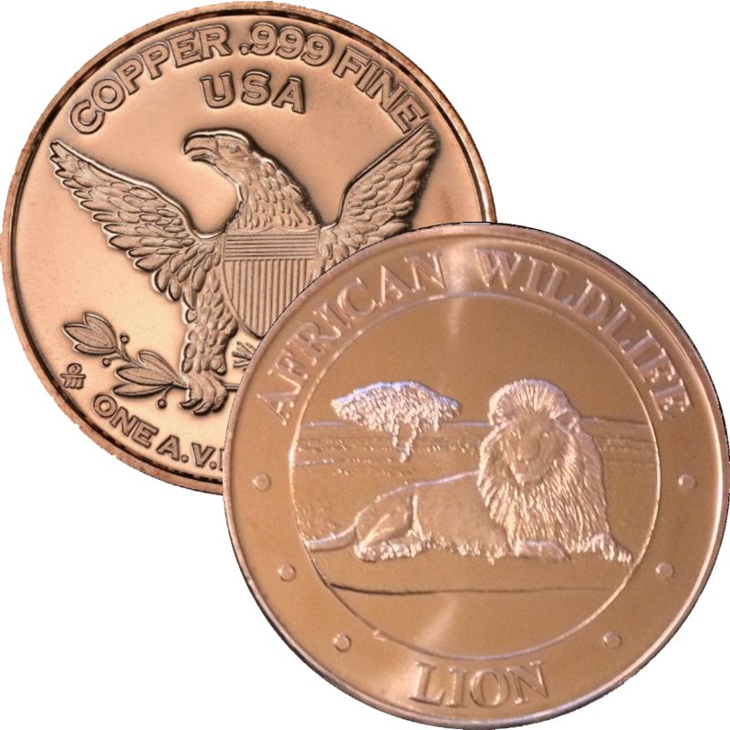 African Wildlife Lion 1 oz .999 Pure Copper Round