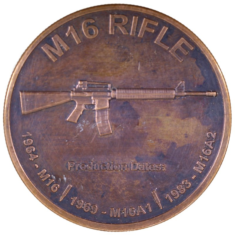 M-16 Rifle 1 oz .999 Pure Copper Round (Black Patina)