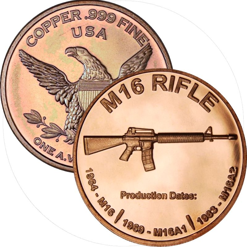 M-16 Rifle 1 oz .999 Pure Copper Round