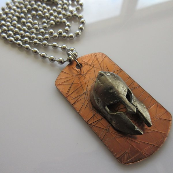 Spartan Dog Tag Necklace in Copper/Pewter by Marco Magallona