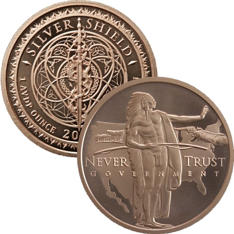 Manifest Destiny / Never Trust Government #93 (2018 Silver Shield - Mini Mintage) 1 oz .999 Pure Copper Round