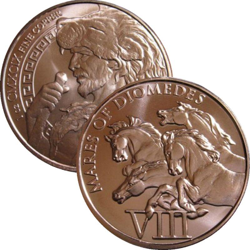 The 12 Labors of Hercules Series Cretan Bull 7th 1 oz .999 Copper Round