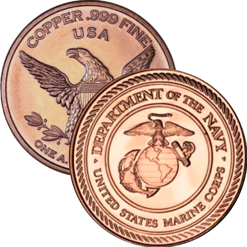 Marines / Marine Corps (Private Mint) 1 oz .999 Pure Copper Round