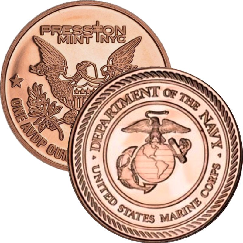 Marines (Presston Mint) 1 oz .999 Pure Copper Round