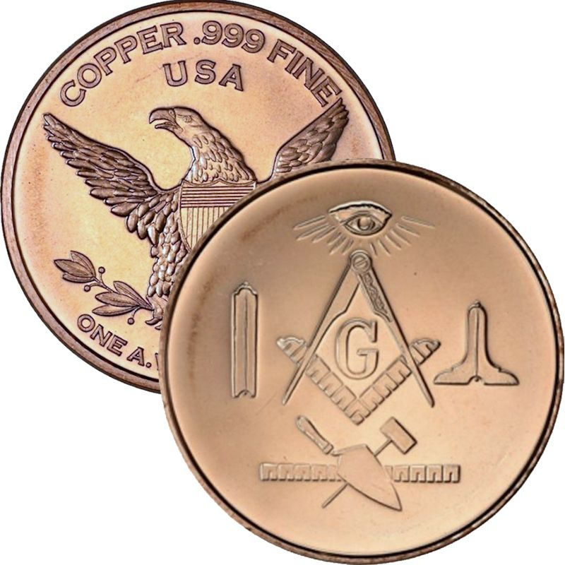 Masonic ~ Free Mason 1oz .999 1 oz .999 Pure Copper Round