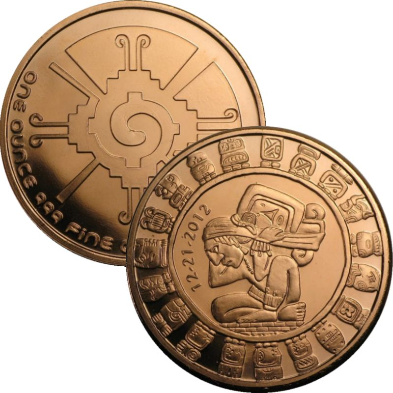 Mayan Calendar 1 oz .999 Pure Copper Round