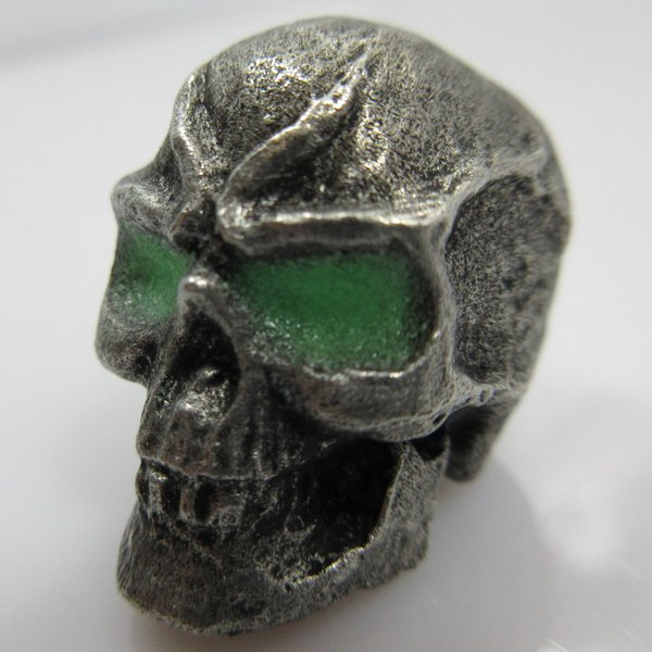 Mean Skull With Green Glow In The Dark Eyes in Pewter by Marco Magallona
