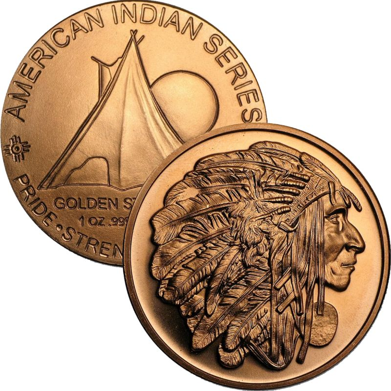 Medallion Chief 1 oz .999 Pure Copper Round