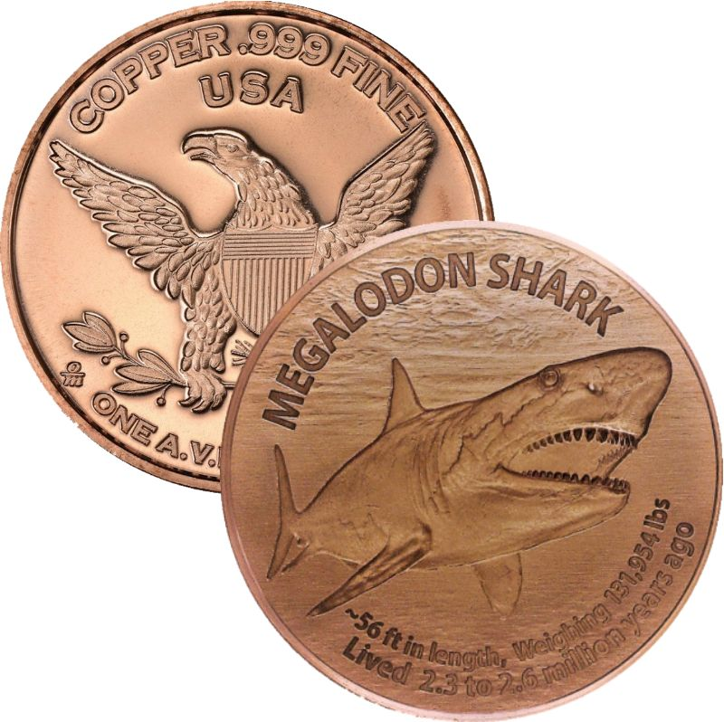 Megalodon Shark 1 oz .999 Pure Copper Round