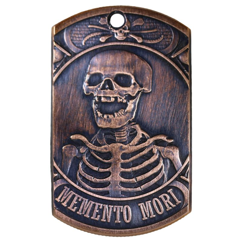 Last Laugh - Momento Mori Copper Dog Tag Necklace