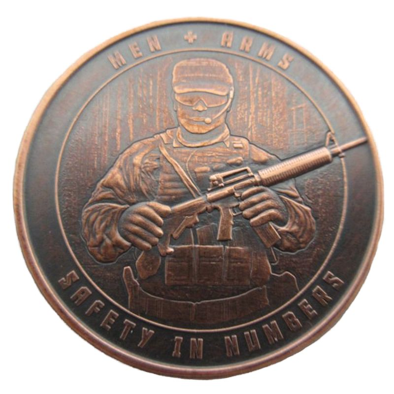 Men And Arms 1 oz .999 Pure Copper Round (Black Patina)