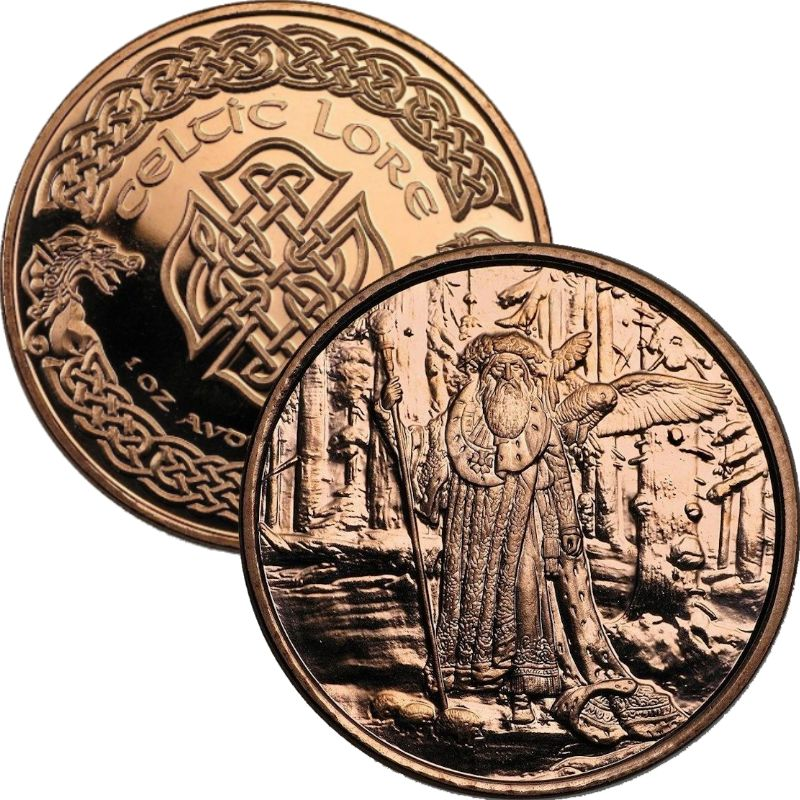 Merlin The Wizard 1 oz .999 Pure Copper Round (1st Design of the Celtic Lore Series)