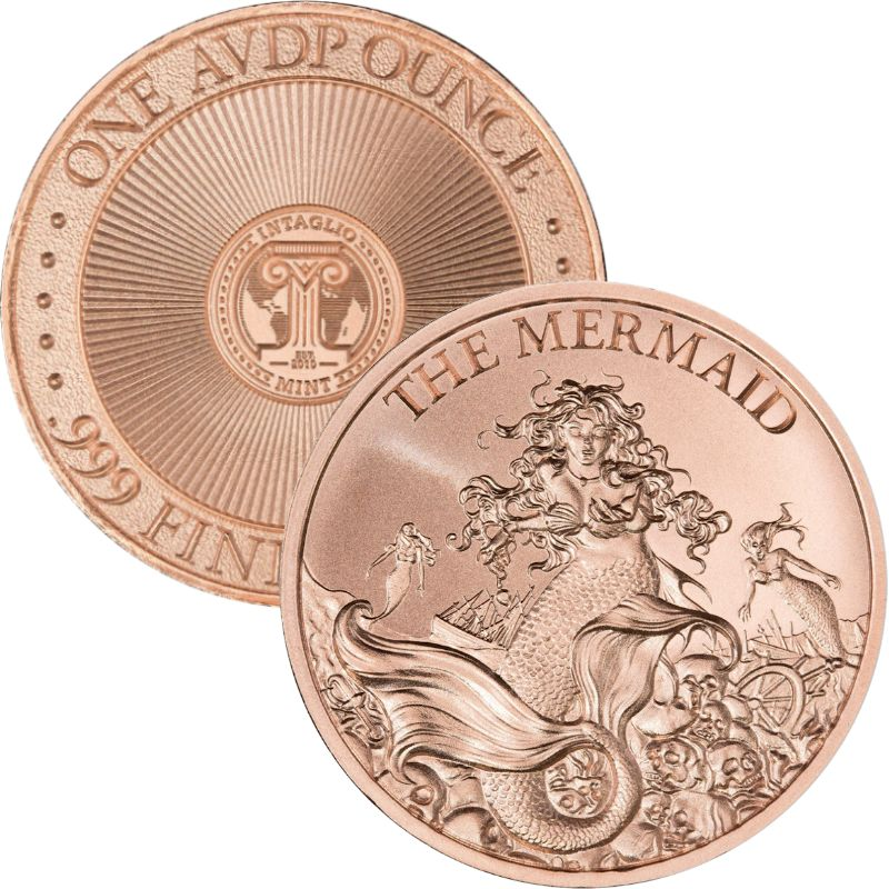 Mermaid 1 oz .999 Pure Copper Round