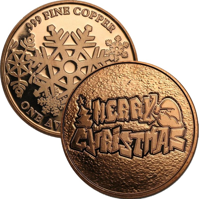 Merry Christmas ~ Graffiti (Snowflake Back Design Series) 1 oz .999 Pure Copper Round
