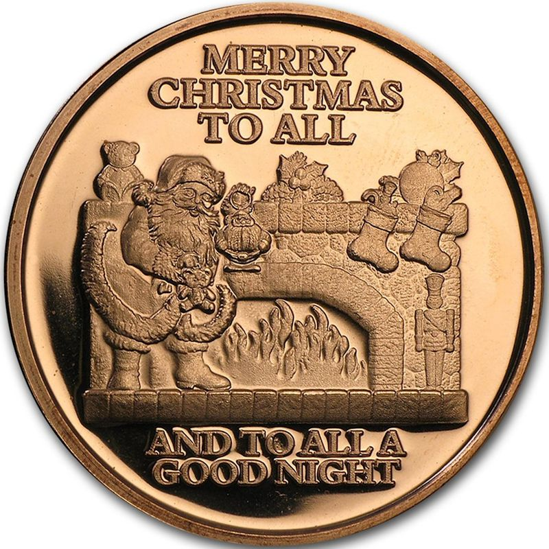 Merry Christmas To All (Snowflake Back Design Series) 1 oz .999 Pure Copper Round