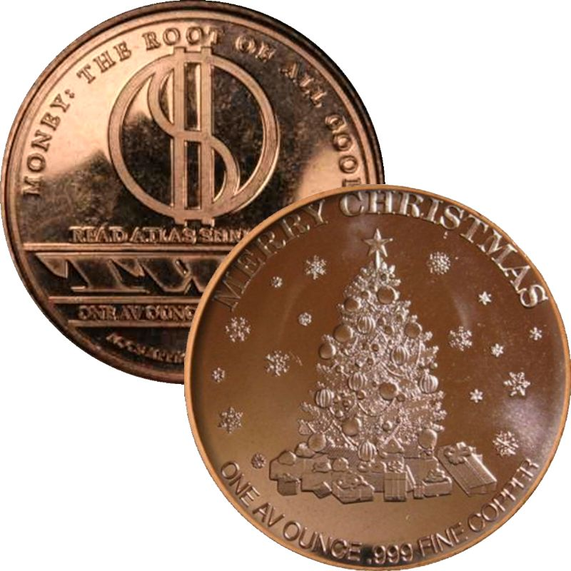 Merry Christmas - Tree - Root Of All Good (AOCS) 1 oz .999 Pure Copper Round