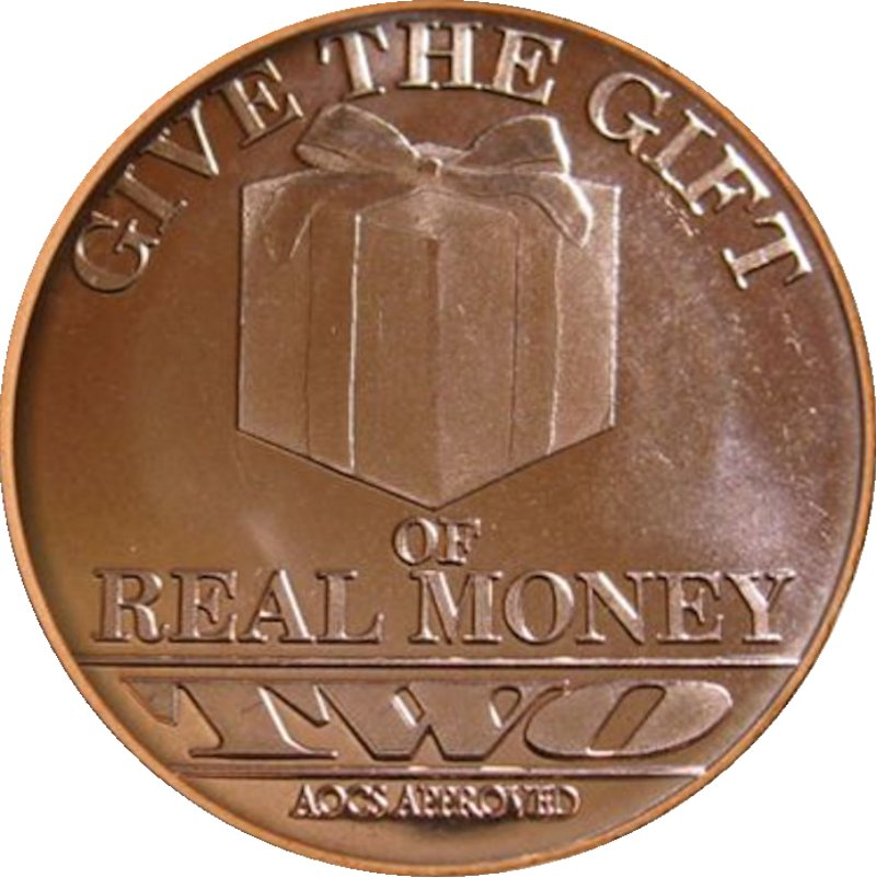 Merry Christmas - Tree - Gift Of Real Money (AOCS) (2012) 1 oz .999 Pure Copper Round