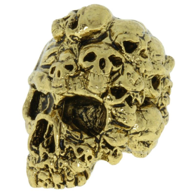 Mind Skull Bead in 18K Antique Gold Finish by Schmuckatelli Co.