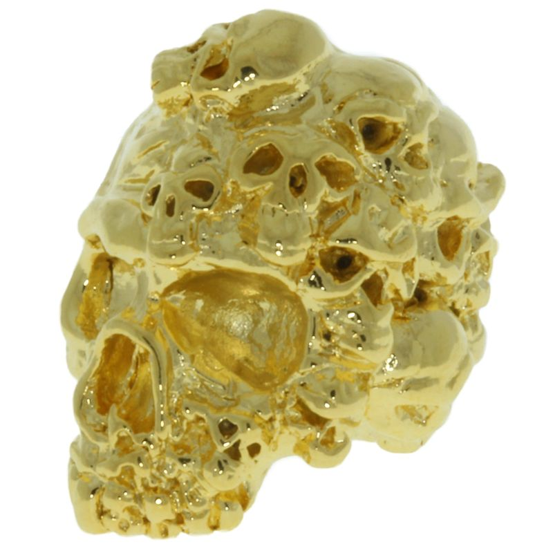 Mind Skull Bead in 18K Gold Plated Finish by Schmuckatelli Co.