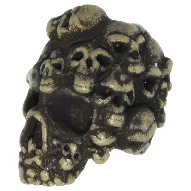 Mind Skull Bead in Roman Brass Oxide Finish by Schmuckatelli Co.