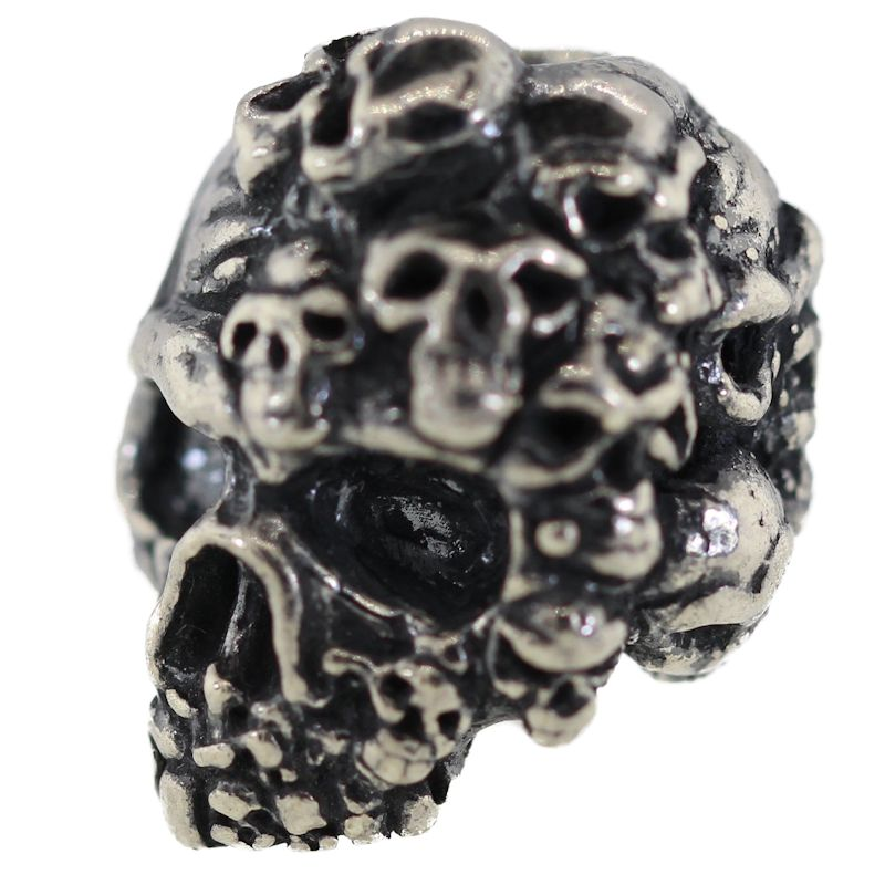 Mind Skull Bead in Solid .925 Sterling Silver by Schmuckatelli Co.