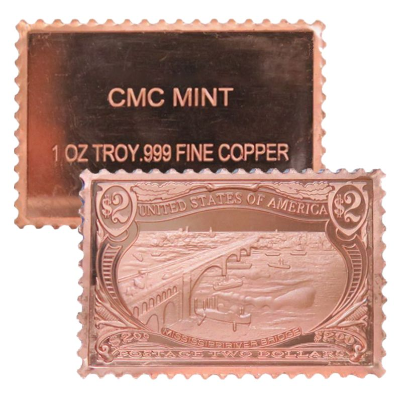Mississippi River Bridge $2.00 Stamp Design 1 oz .999 Fine Copper Bar