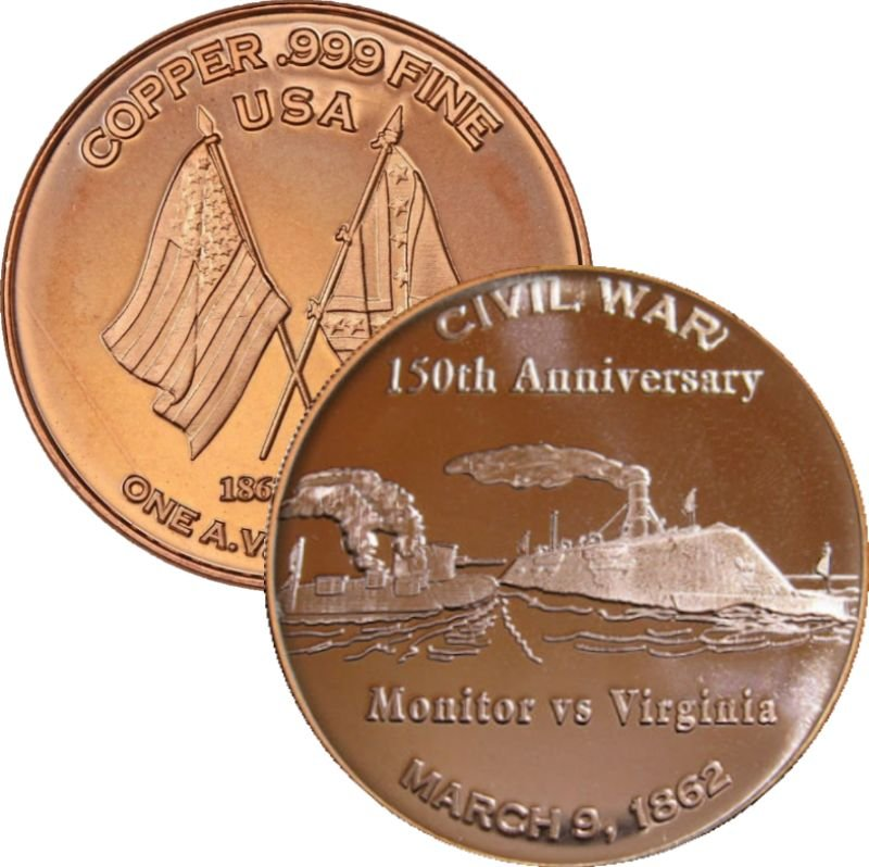Monitor vs Virginia ~ Civil War Series 1 oz .999 Pure Copper Round
