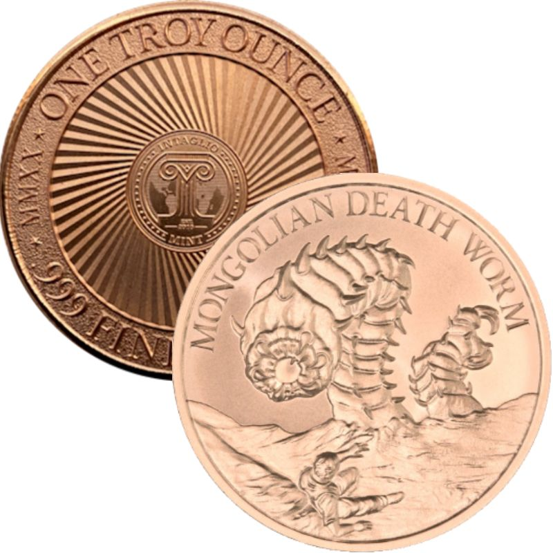 Mongolian Death Worm (New Reverse) 1 oz .999 Pure Copper Round