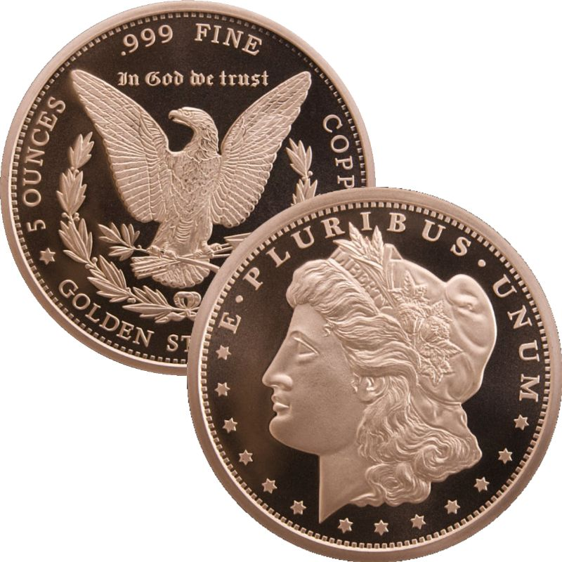 Morgan Dollar Design 5 oz .999 Pure Copper Round