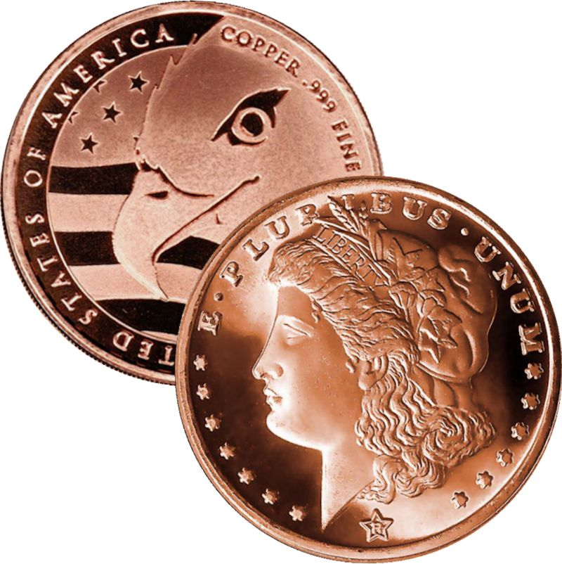 Morgan Dollar Design (QSB Mint) 1 oz .999 Pure Copper Round