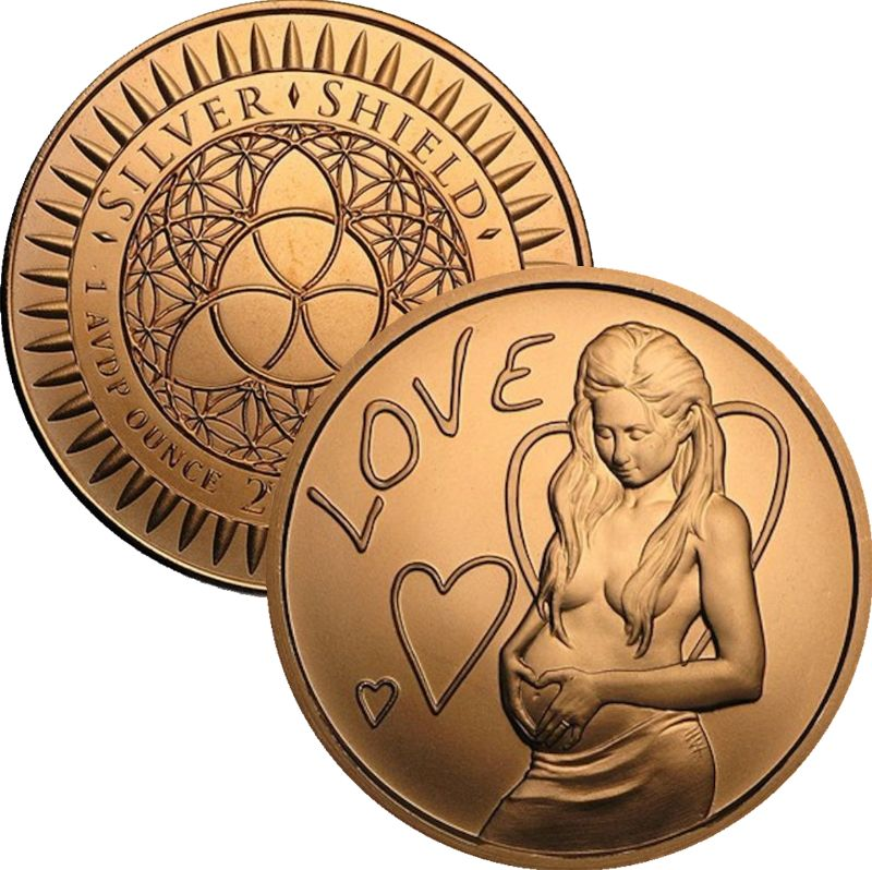 A Mothers Love 1 oz .999 Pure Copper Round (2016 Silver Shield)