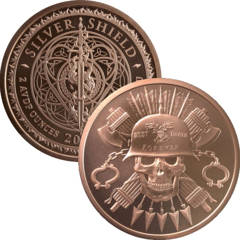 Moto - Debt Death Forever #152 (2020 Silver Shield Mini Mintage) 2 oz .999 Pure Copper Round