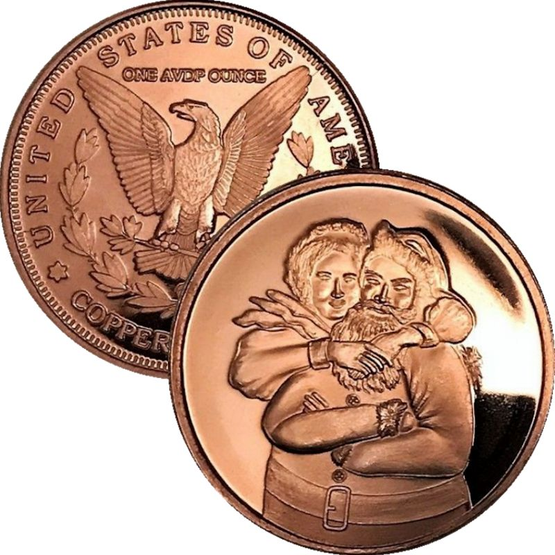 Mr. & Mrs. Clause (Sunshine Mint) 1 oz .999 Pure Copper Rounds