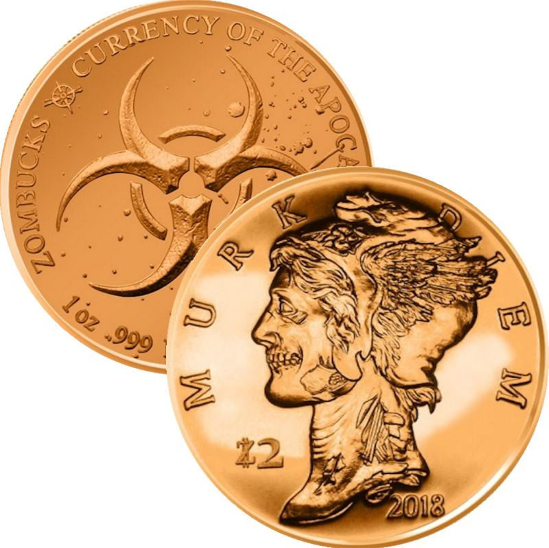 Murk Diem 1 oz .999 Pure Copper Round (5th Design of the Zombucks Series)