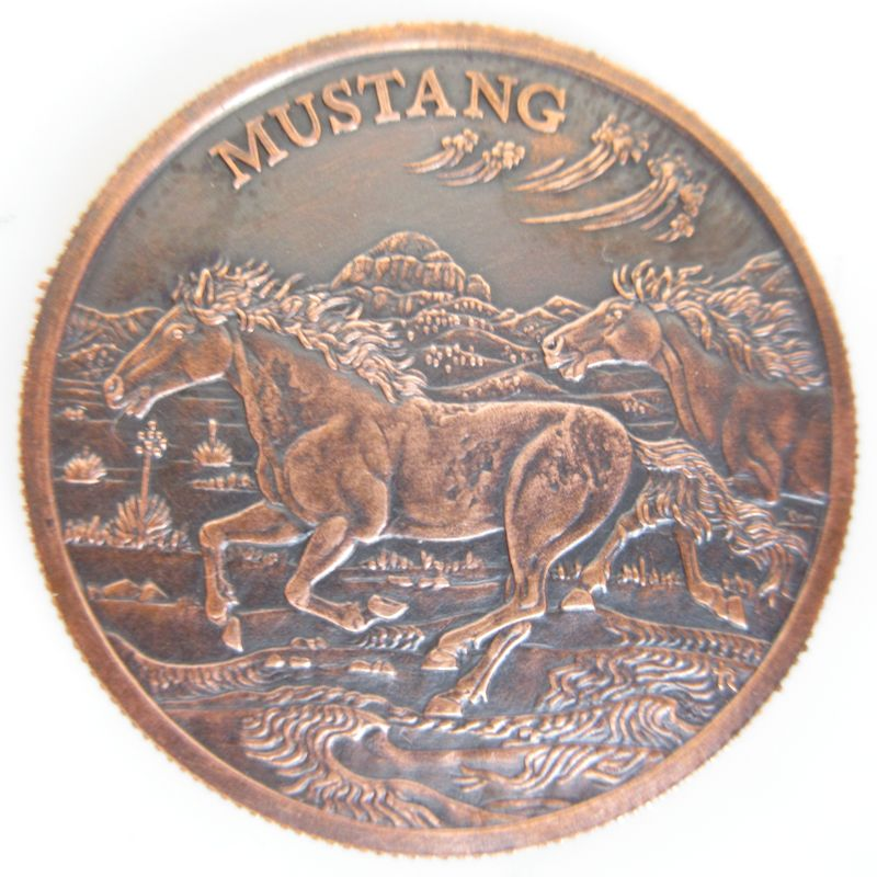 Mustang (American Wildlife Series) 1 oz .999 Pure Copper Round (Black Patina)