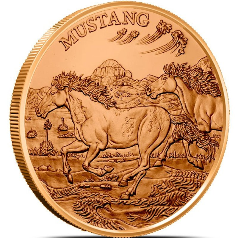 Mustang (American Wildlife Series) 1 oz .999 Pure Copper Round