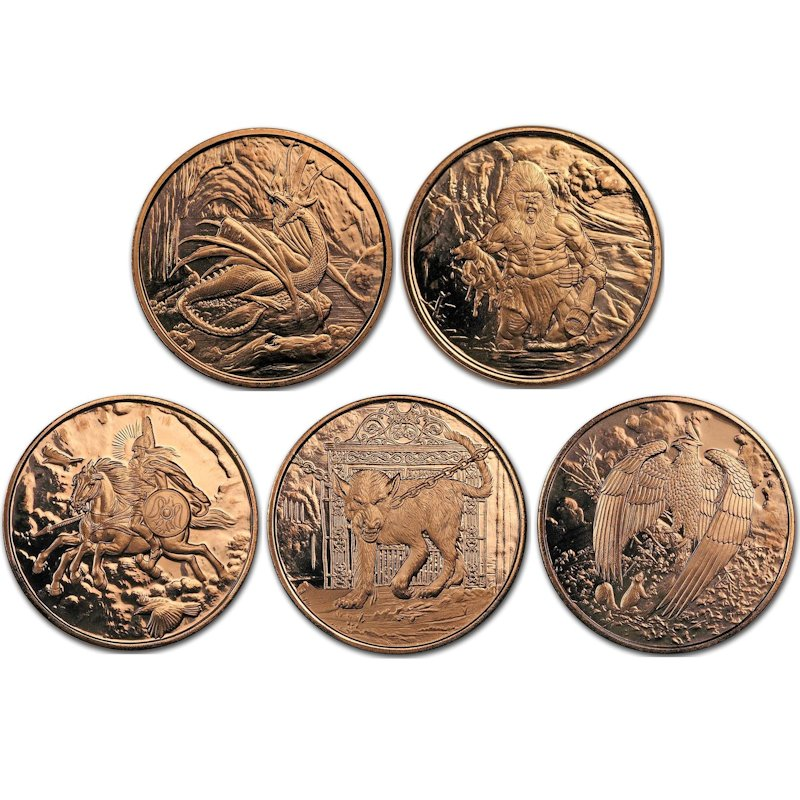 Complete Set of (5) Nordic Creatures Designs 1 oz .999 Pure Copper Rounds