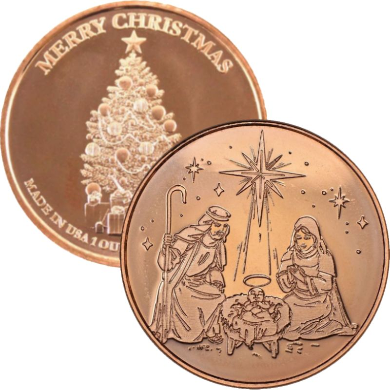 Nativity ~ Merry Christmas (Tree Back Design Series) 1 oz .999 Pure Copper Round