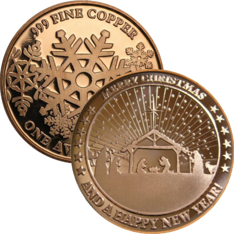 Nativity ~ Merry Christmas / Happy New Year (Snowflake Back Design Series) 1 oz .999 Pure Copper Round