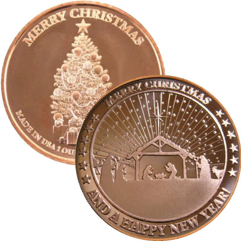 Nativity ~ Merry Christmas - Design #2 (Tree Back Design Series) 1 oz .999 Pure Copper Round