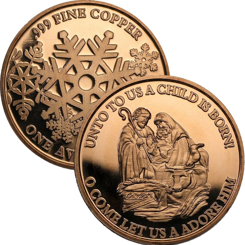Nativity ~ Unto Us A Child Is Born (Snowflake Back Design Series) 1 oz .999 Pure Copper Round