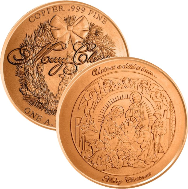 Nativity ~ Unto Us A Child Is Born (Wreath Back Design Series) 1 oz .999 Pure Copper Round