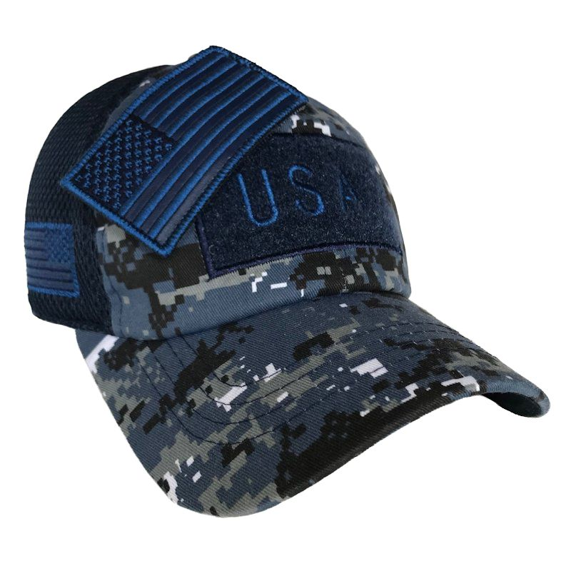 Navy Digital Camo American Flag Velcro Patch Hat