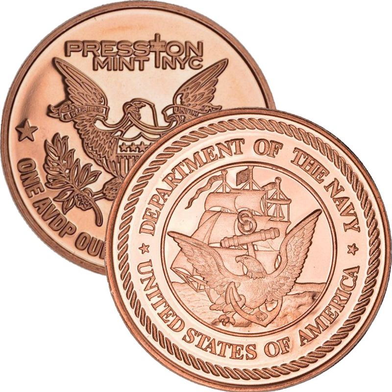 Navy (Presston Mint) 1 oz .999 Pure Copper Round