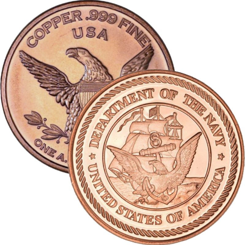 Navy (Private Mint) 1 oz .999 Pure Copper Round