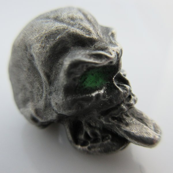 Neener Bead With Green Glow In The Dark Eyes in Pewter by Marco Magallona