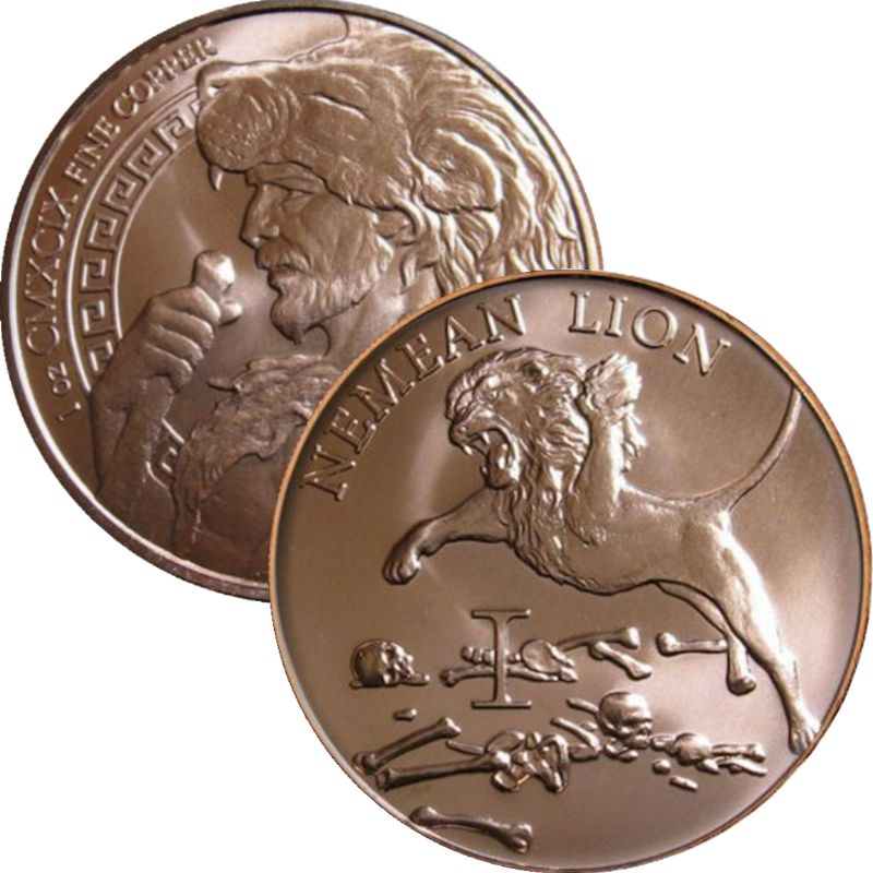 Nemean Lion 1 oz .999 Pure Copper Round (1st Design of the 12 Labors of Hercules Series)