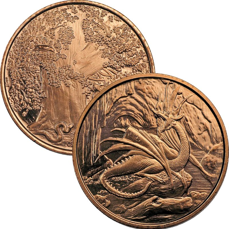 Nidhoggr ~ Dragon 1 oz .999 Pure Copper Round (1st Design of the Nordic Creatures Series)